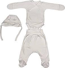 Дитячий костюм ріст 56 0-2 міс інтерлок білий на хлопчика дівчинку для новонароджених Б-983