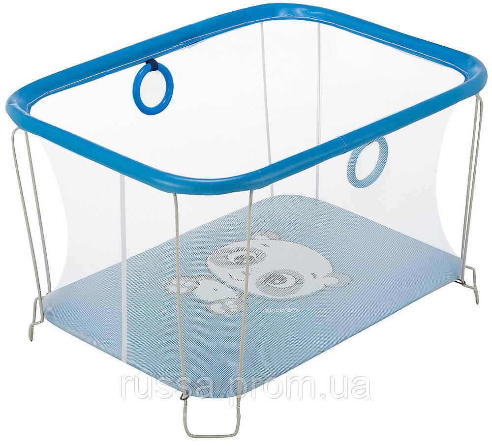 Манеж Qvatro Солнышко-02 мелкая сетка  синий (panda)