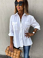 Женская стильная классическая рубашка с удлиненной спинкой, фото 1