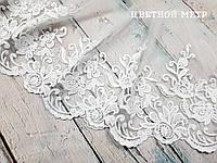 """Кружево """"цветы и листья"""" с вышивкой по одному краю белое, шир. 20 см"""