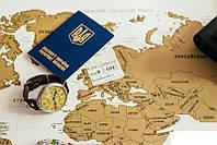 Настенная скретч карта мира на русском языке