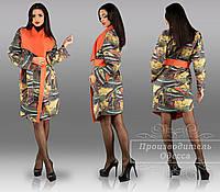 Женское пальто модное с неопреном
