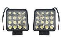 Комплект LED фар 16 диодов в каждой! Светодиодные лэд фары 48W (105*105мм) Гарантия 12 мес.