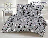 Семейный комплект постельного белья из ранфорса Кошкин дом
