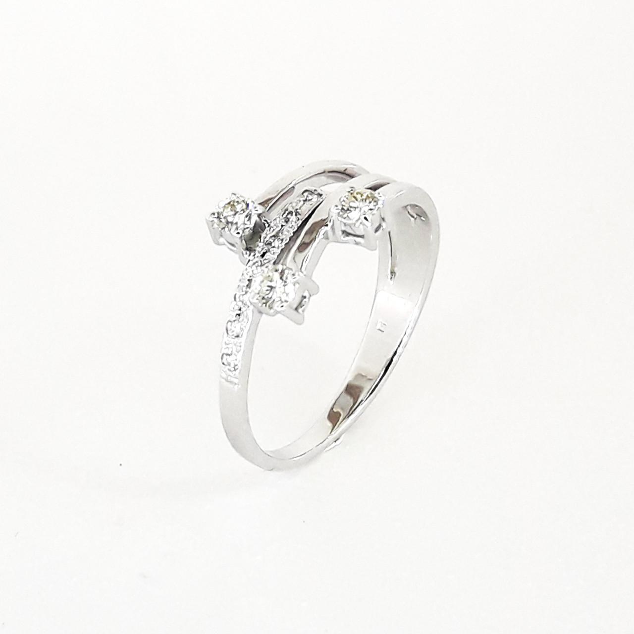 Кільце в білому золоті 585 проби з діамантами