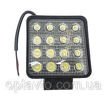 Светодиодные фары ОПТОМ! LED (лэд) фара квадратная 16 диодов. 48 Вт. 12-24 Вольт.