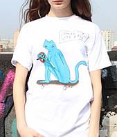 Белая футболка Рипндип - Кот рулит на скейте, фото 1
