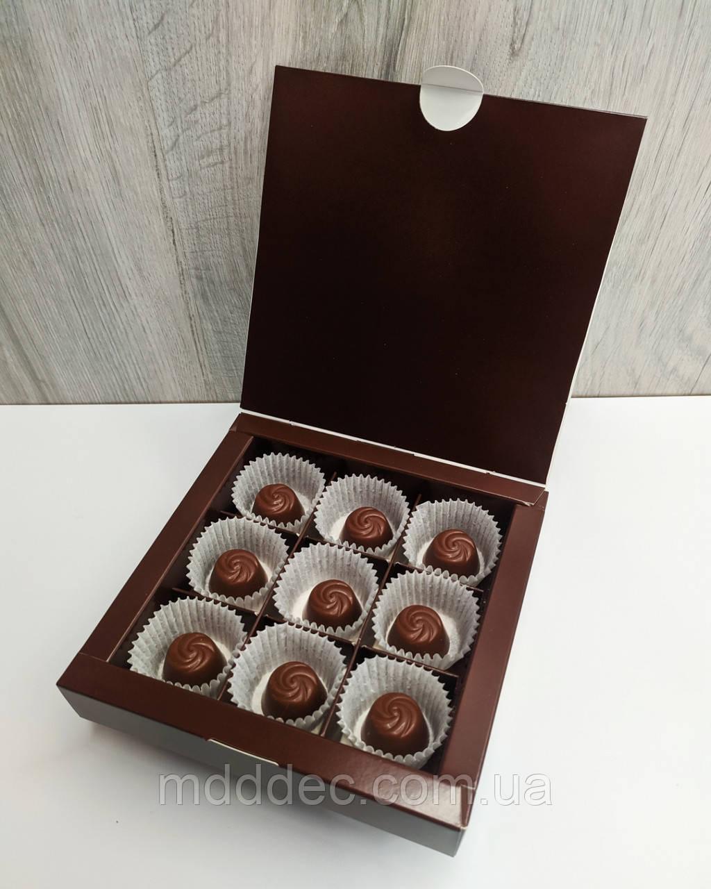 Коробка для конфет 9 шт Коричневая