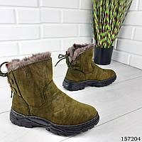 """Ботинки женские зимние хаки """"Inkore"""" эко замша, Зимние ботинки. Обувь женская. Обувь зимняя"""