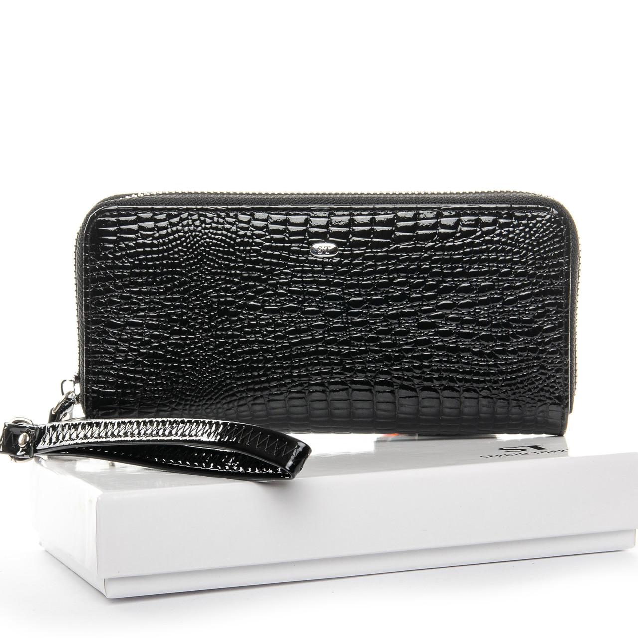 Гаманець шкіряний чорний на блискавці жіночий клатч лаковий Sergio Torretti W38