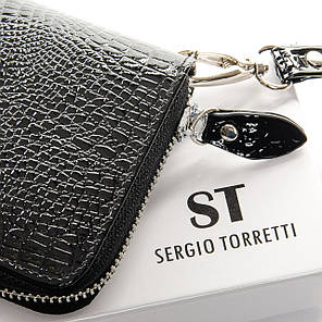 Гаманець шкіряний чорний на блискавці жіночий клатч лаковий Sergio Torretti W38, фото 2
