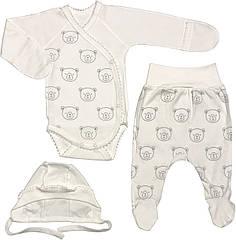 Дитячий костюм ріст 62 2-3 міс інтерлок молочний костюмчик на хлопчика дівчинку комплект на виписку