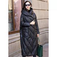 Женская парка-бочка пальто из экокожи большой и стандартный размер. Размер 42-74+ батал плюссайз, фото 1