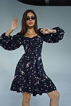 """Приталенное платье-мини в цветочек """"DIVA"""" с оборкой и шнуровкой на спине, фото 3"""