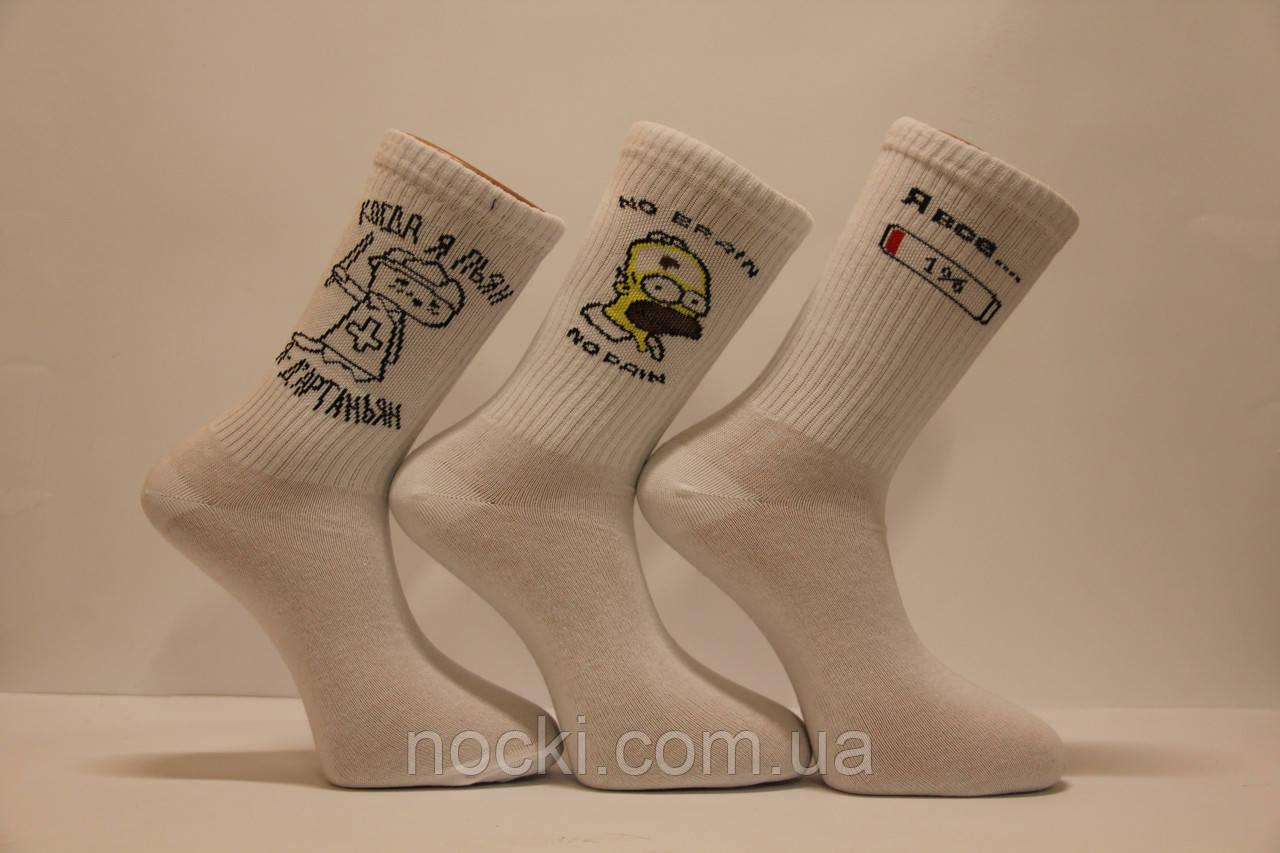 Чоловічі шкарпетки середні ТЕНІС НЛ з написами 40-45 білий м-1 Д'артаньян