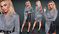 Стильное деловое женское платье по фигуре до колена арт. 699