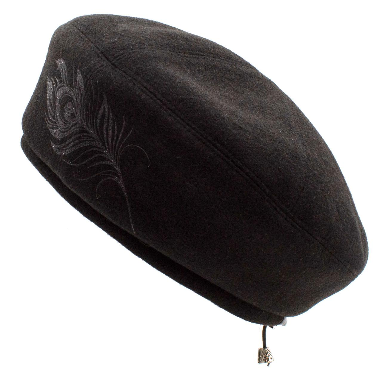 Берет женский Marmilen Kent&Aver Кашемировый  перо чёрный размер 58-59 ( 1003-8475 m )