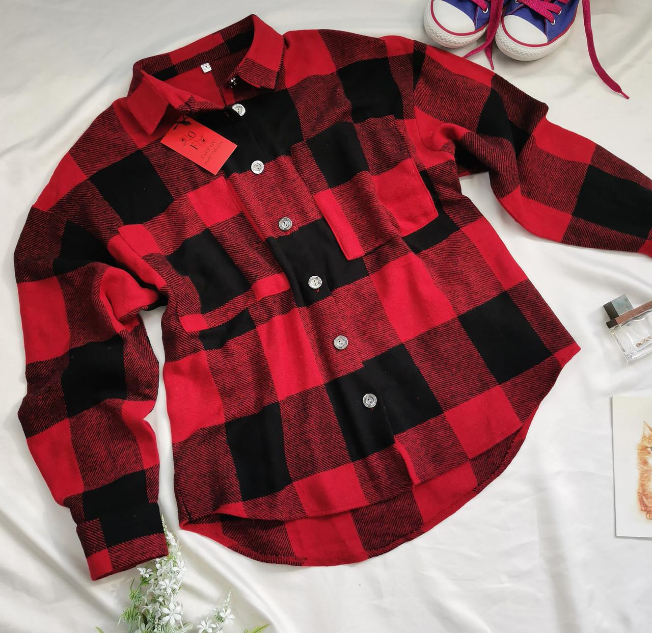 Женская теплая рубашка в клетку красная