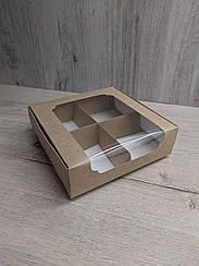 Коробка для десертов 200*200*60 с окном Крафт