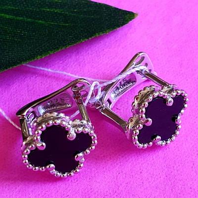 Сережки хрести з білими каменями срібло - Срібні сережки висячі Хрести, Сережки, хрестики срібло