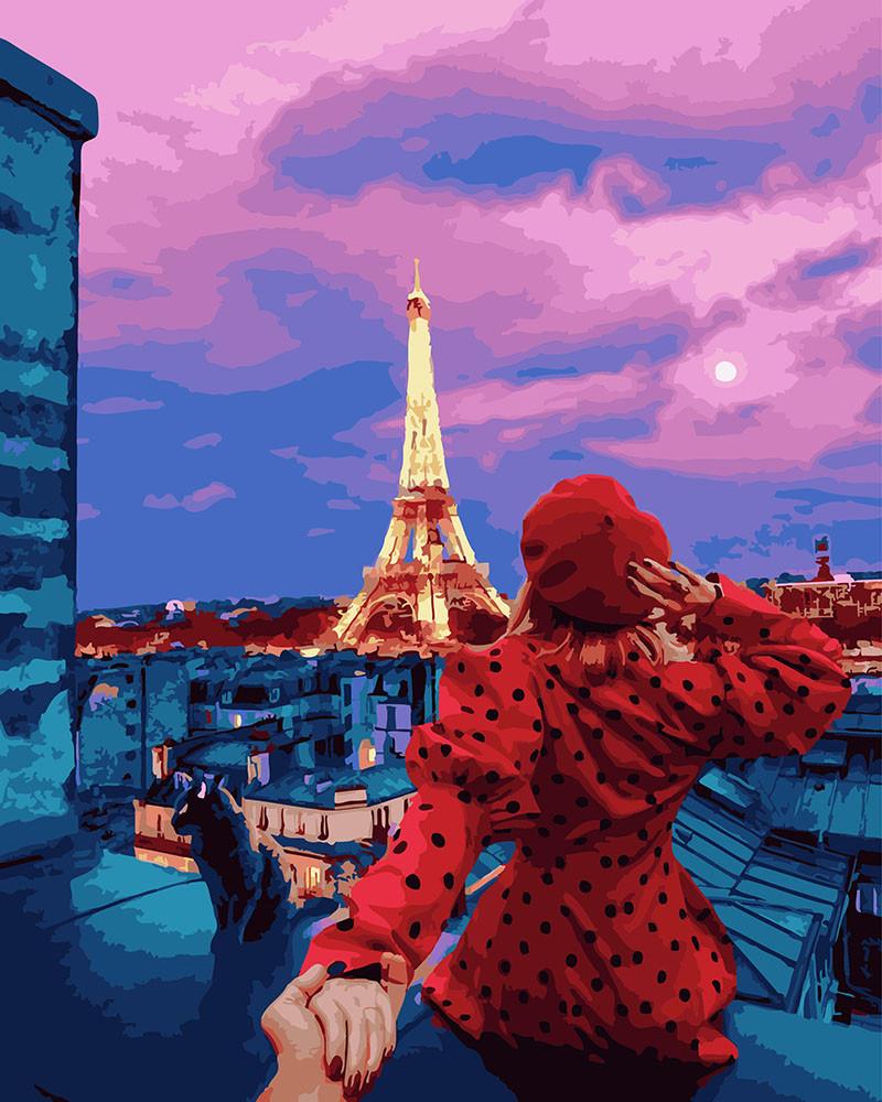 Картина по номерам - Следуй за мной. Крыши Парижа Brushme 40*50 см. (GX26279)