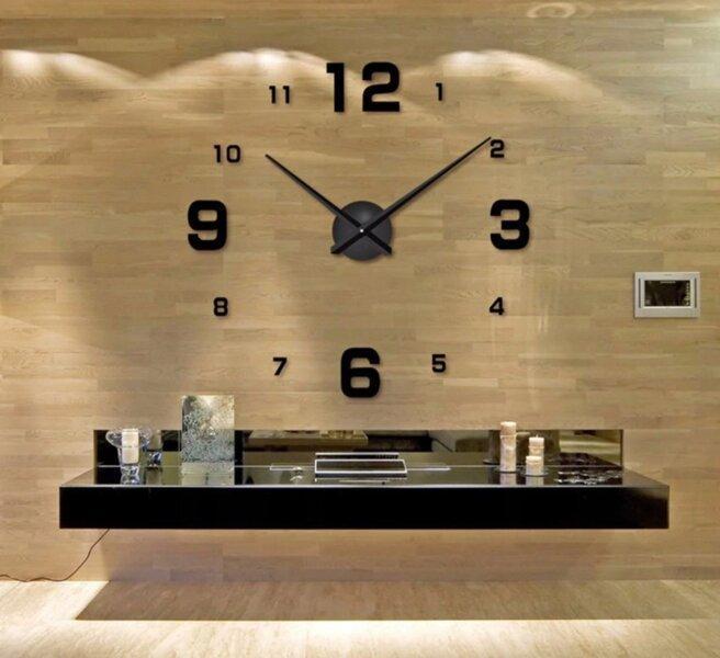"""3D часы настенные средние """"DIY Clock"""" от 60 до 120см Black цвет черный (8516-014)"""