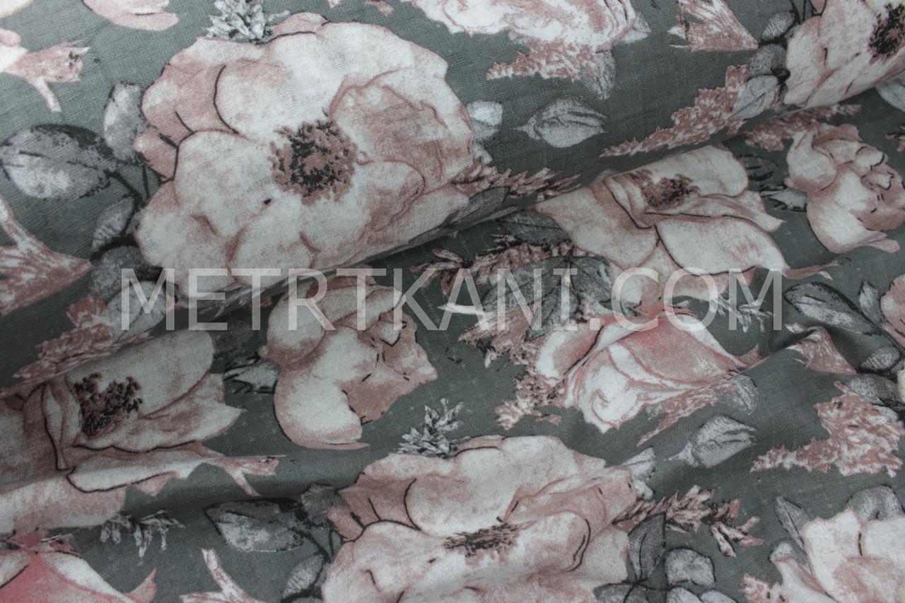 """Муслин """"Цветы с серыми листьями"""" розовых,бежевых и капучиновых   оттенков на графитовом № 3-156"""