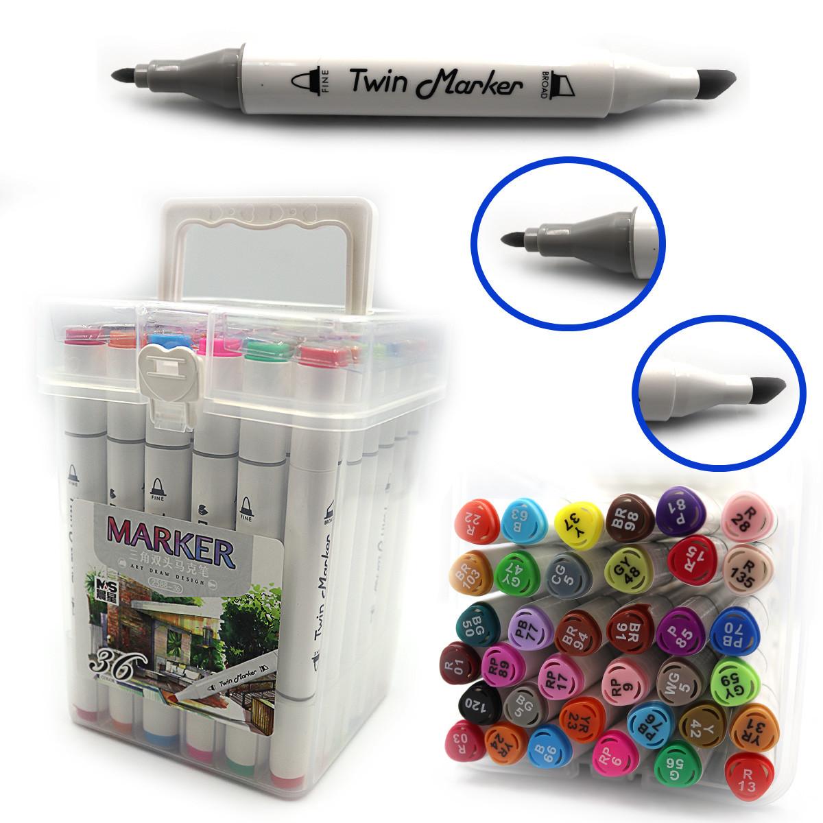 Набір маркерів 36кол. DSCN0228-36 M&S 2-хстор. скош/коло., скетч маркери в наборі