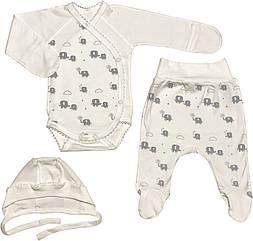 Дитячий костюм ріст 62 2-3 міс трикотажний інтерлок молочний костюмчик на хлопчика дівчинку комплект