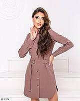 Модное короткое женское платье-рубашка с поясом арт. 7082