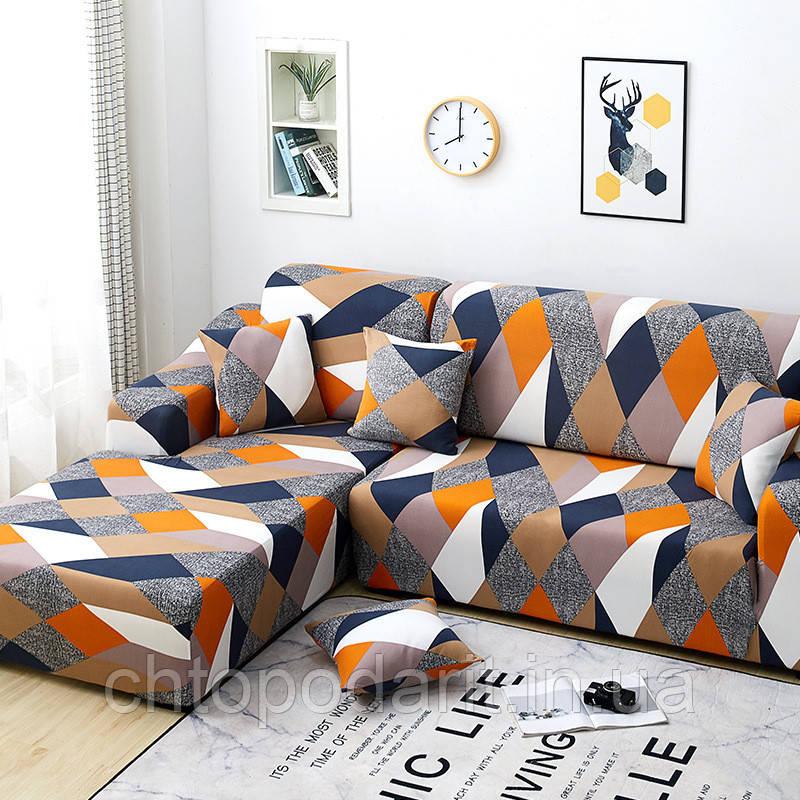 Чехол на диван универсальный для мебели цвет оранжевый шапито 175-230см  Код 14-0614