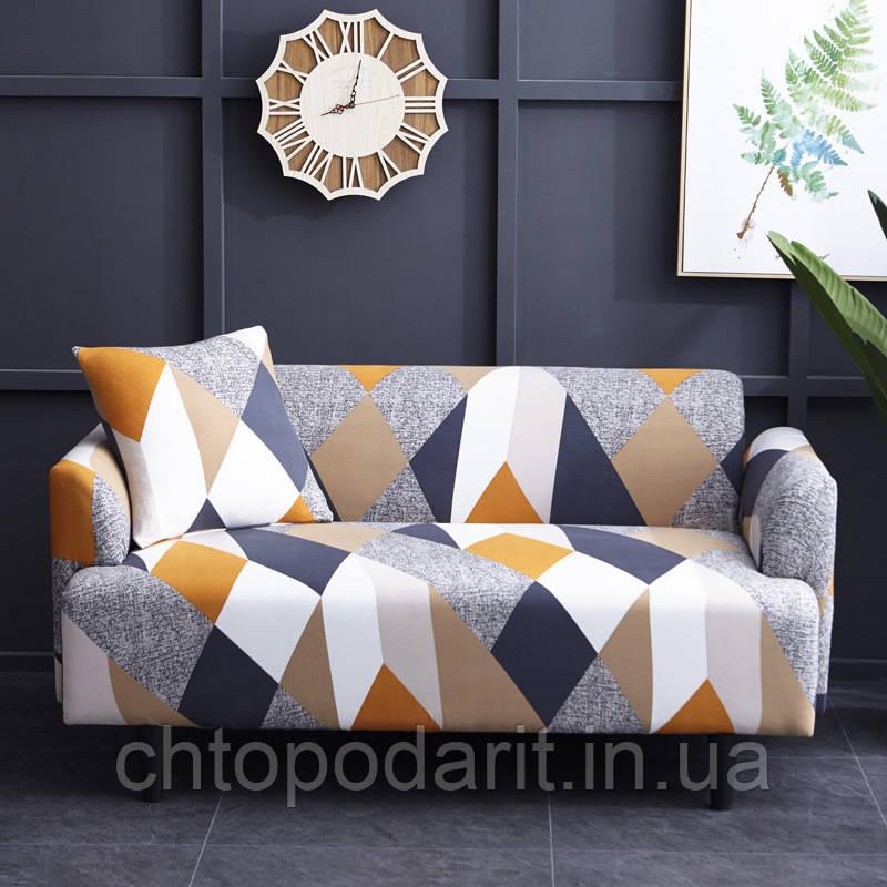 Чохол на диван універсальний для меблів колір помаранчевий шапіто 90-140см Код 14-0616