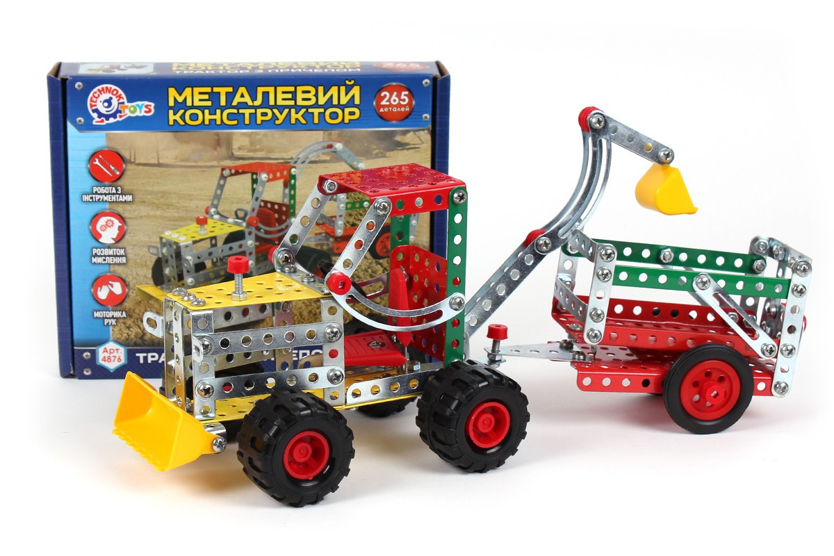 Конструктор металевий дитячий Трактор з причепом ТехноК арт.4876