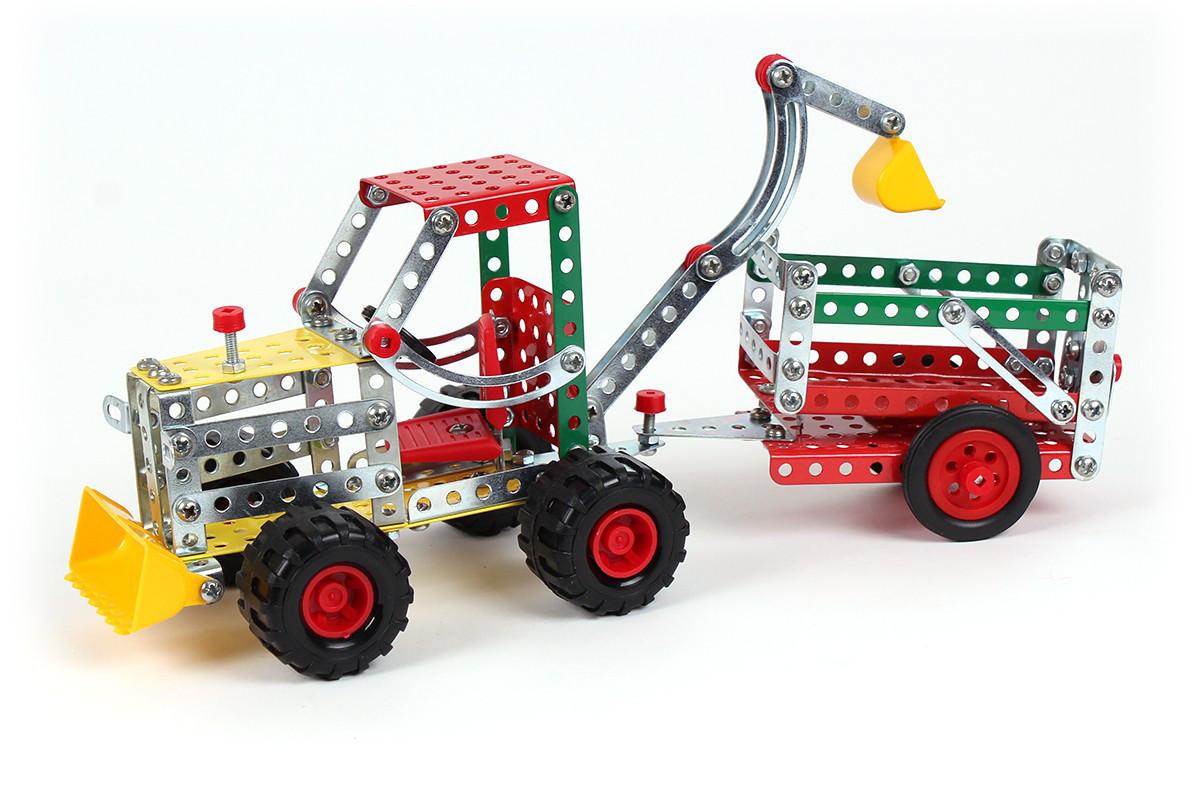 Конструктор металлический детский Трактор с прицепом ТехноК