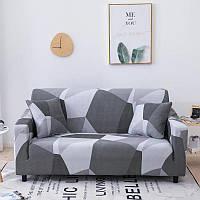 Чехол на диван универсальный для мебели цвет серый шапито 90-140см Код 14-0603