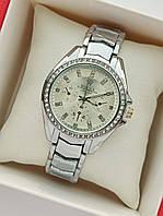 Женские наручные часы Rolex (ролекс) на браслете, серебристые с светлым циферблатом, камушки вокруг- код 1681, фото 1