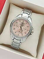 Женские наручные часы Rolex (ролекс) на браслете, серебристые с розовым циферблатом, камушки вокруг- код 1682