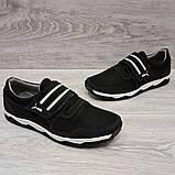 42 Размер! Кроссовки мужские черного цвета на липучку львовской фабрики (Кс-36чб), фото 5