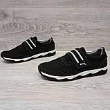 42 Размер! Кроссовки мужские черного цвета на липучку львовской фабрики (Кс-36чб), фото 6