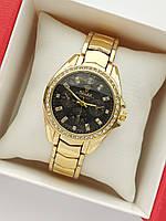 Женские наручные часы Rolex (ролекс) на браслете, золотые с черным циферблатом, камушки вокруг- код 1683, фото 1