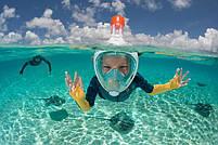 Детская полнолицевая маска для плавания FREE BREATH (XS) M2068G с креплением для камеры, фото 8
