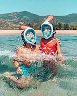 Детская полнолицевая маска для плавания FREE BREATH (XS) M2068G с креплением для камеры, фото 9