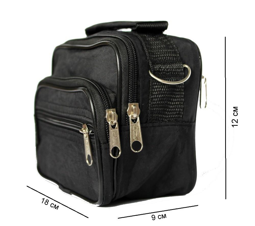 Мужская маленькая сумка 3в1 черного цвета 2663-ч