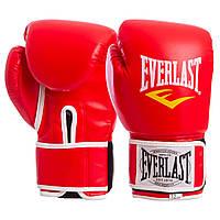 Боксерские перчатки EVERLAST для тренировок на липучке Эверласт Полиуретан Красный (BO-3987) 8 унцийПерчатки д, фото 1
