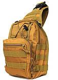 Эргономический однолямочный рюкзак - сумка водоотталкивающий (50413), фото 6