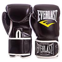 Боксерские перчатки EVERLAST для тренировок на липучке Эверласт Полиуретан Черный (BO-3987) 8 унций, фото 1