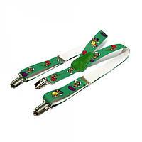 Детские подтяжки Gofin suspenders с черепашками Зеленые PBD-15014, КОД: 1388530