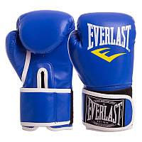 Боксерские перчатки EVERLAST для тренировок на липучке Эверласт Полиуретан Синий (BO-3987) 8 унций, фото 1
