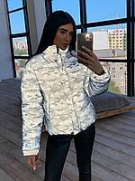Светоотражающая женская короткая куртка с принтом милитари, без капюшона 6601451Е