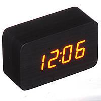Настольные часы Led Woden Clock (VST-863-1) Черные с красной подсветкой